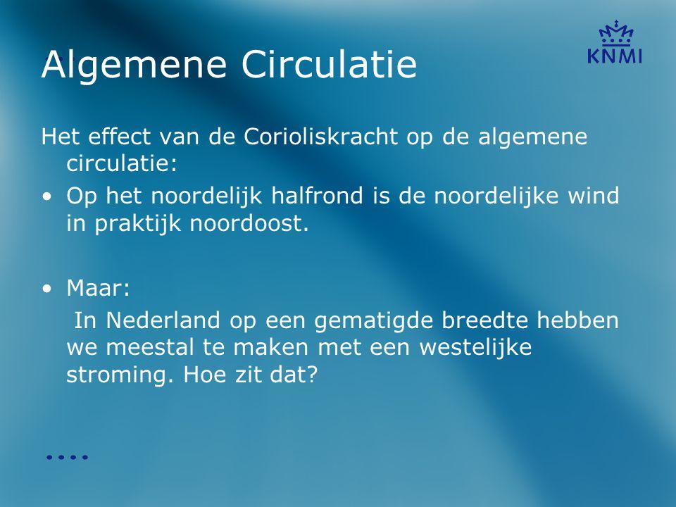 Algemene Circulatie Het effect van de Corioliskracht op de algemene circulatie:
