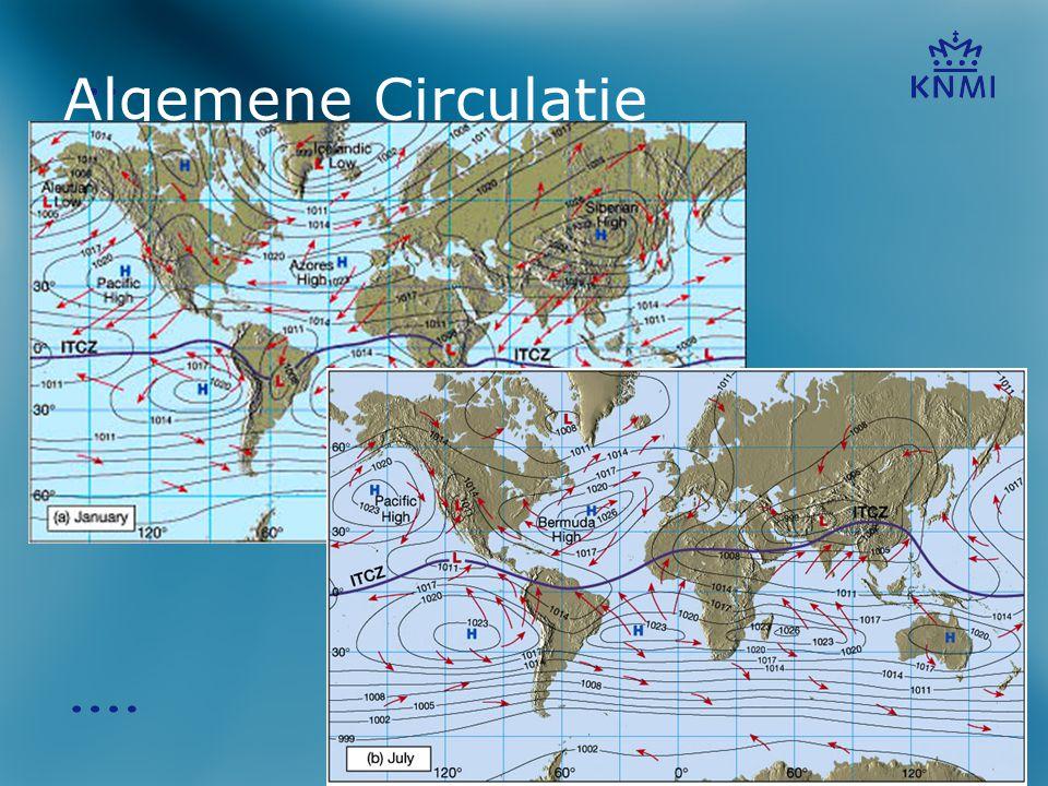 Algemene Circulatie Hier een voorbeeld van de algemene circulatie zoals die wordt waargenomen in januari en juli.