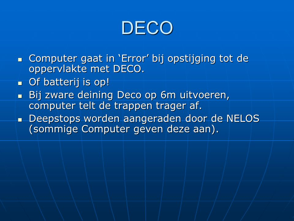 DECO Computer gaat in 'Error' bij opstijging tot de oppervlakte met DECO. Of batterij is op!
