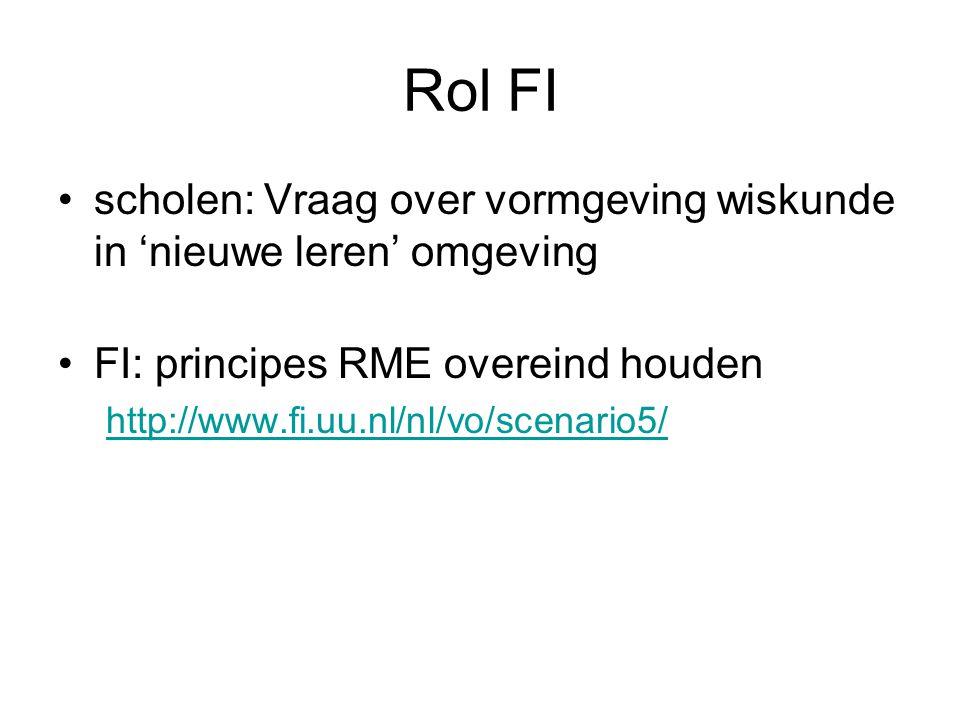 Rol FI scholen: Vraag over vormgeving wiskunde in 'nieuwe leren' omgeving. FI: principes RME overeind houden.