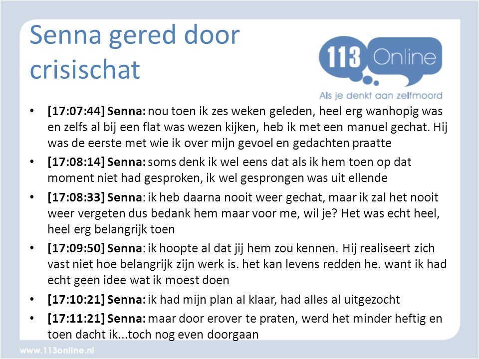 Senna gered door crisischat