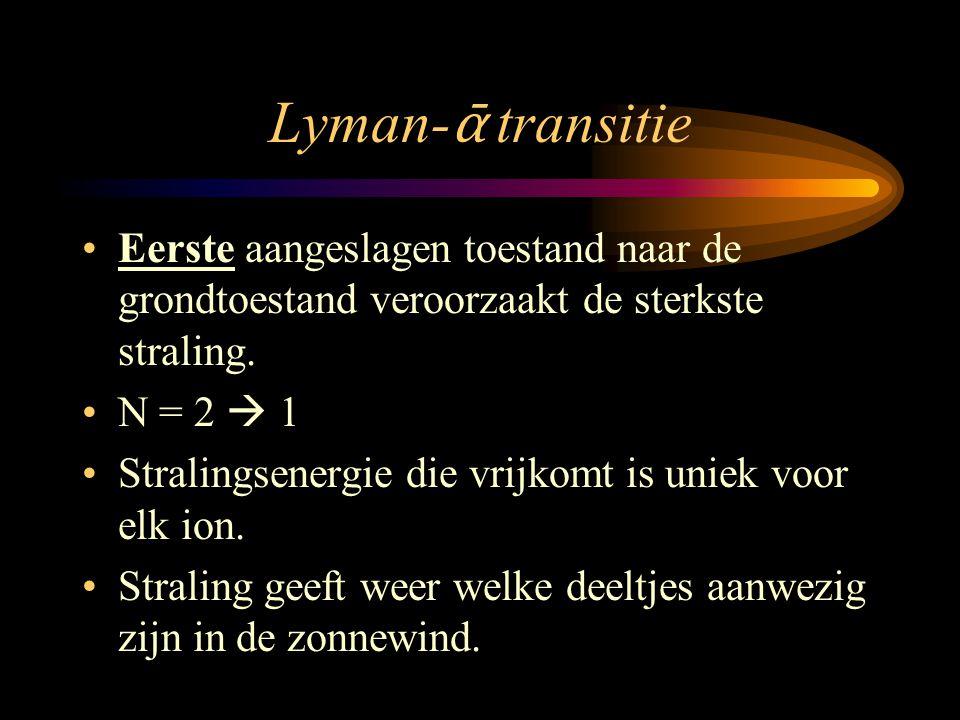 Lyman-ᾱ transitie Eerste aangeslagen toestand naar de grondtoestand veroorzaakt de sterkste straling.