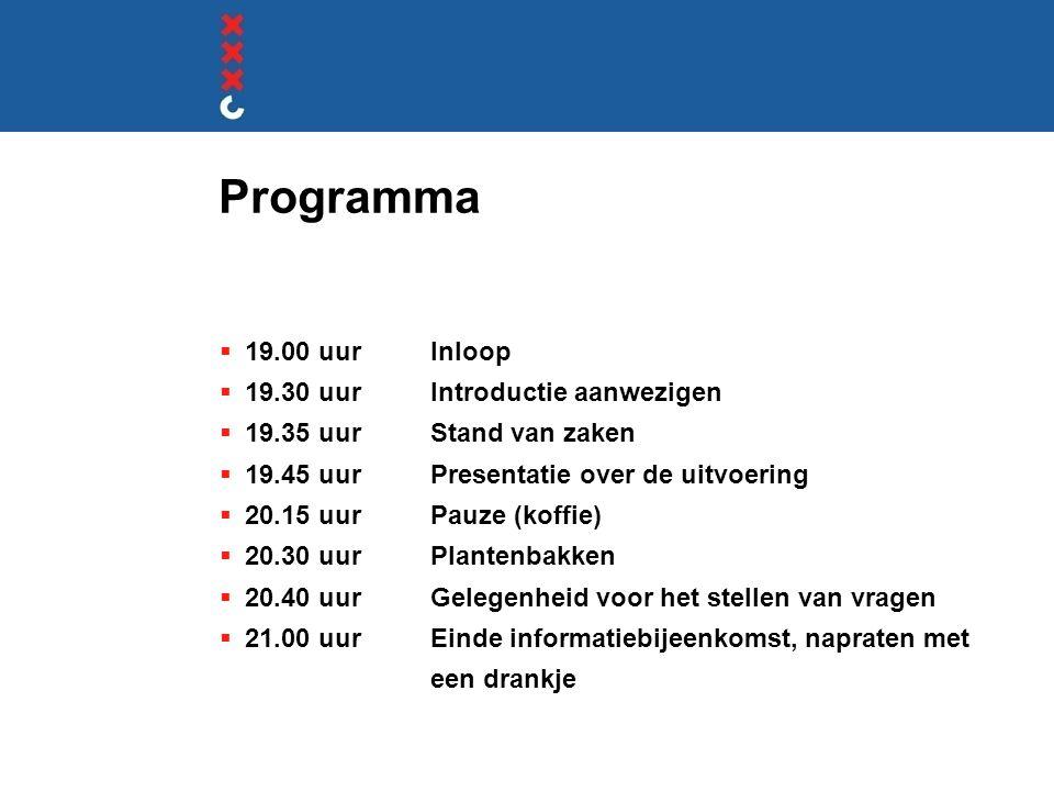 Programma 19.00 uur Inloop 19.30 uur Introductie aanwezigen