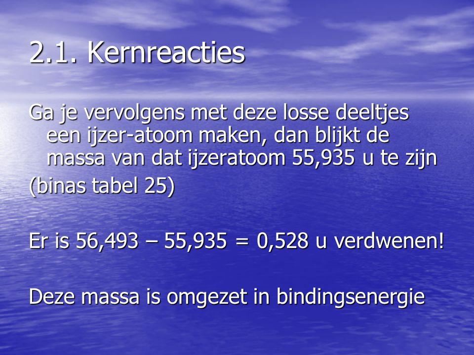 2.1. Kernreacties Ga je vervolgens met deze losse deeltjes een ijzer-atoom maken, dan blijkt de massa van dat ijzeratoom 55,935 u te zijn.