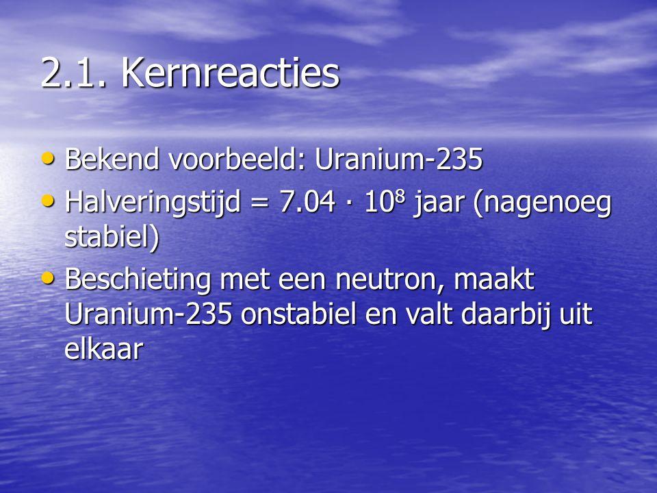 2.1. Kernreacties Bekend voorbeeld: Uranium-235