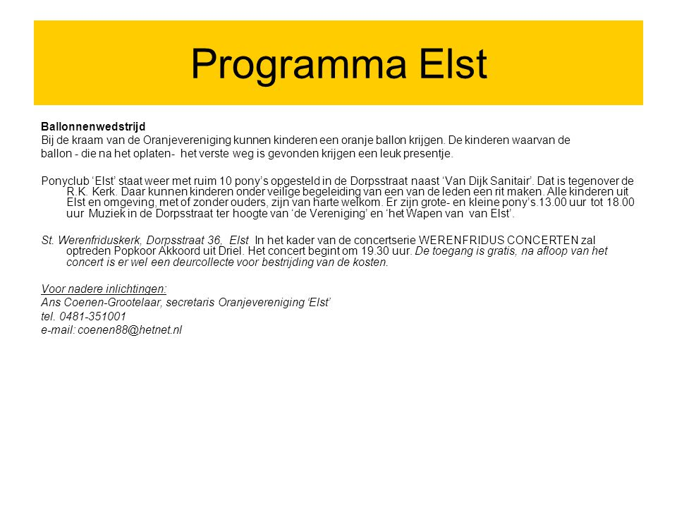 Programma Elst Ballonnenwedstrijd