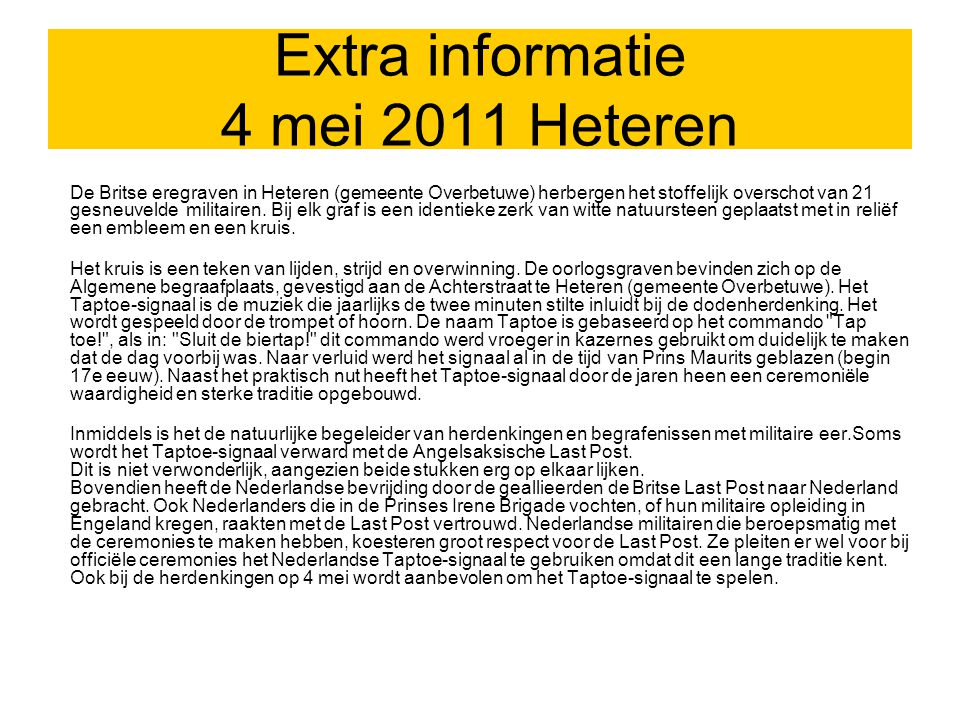 Extra informatie 4 mei 2011 Heteren