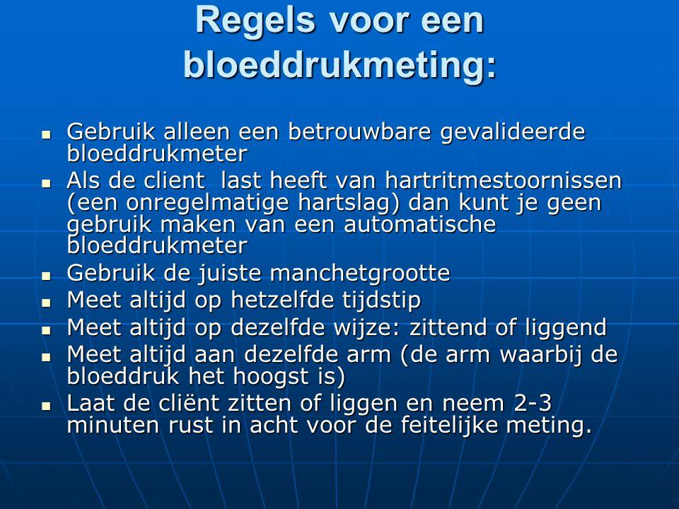 Regels voor een bloeddrukmeting: