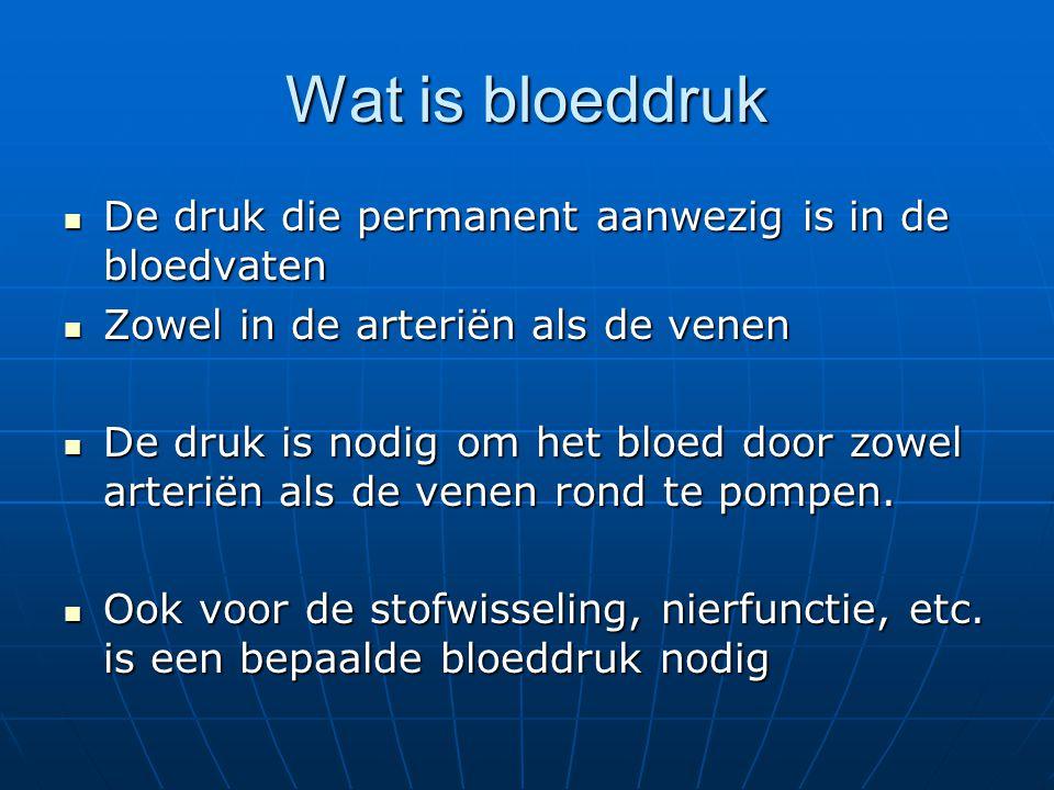 Wat is bloeddruk De druk die permanent aanwezig is in de bloedvaten