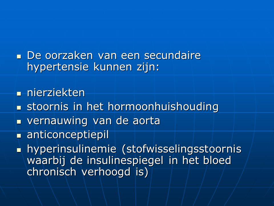 De oorzaken van een secundaire hypertensie kunnen zijn: