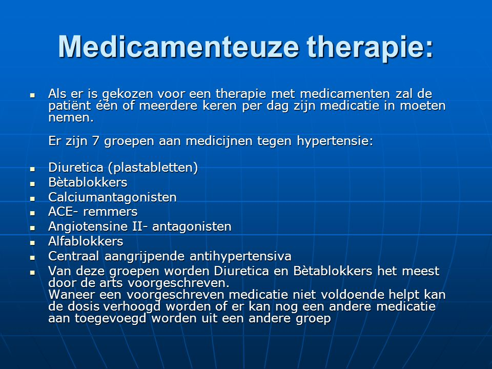 Medicamenteuze therapie: