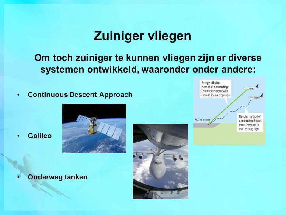 Zuiniger vliegen Om toch zuiniger te kunnen vliegen zijn er diverse systemen ontwikkeld, waaronder onder andere: