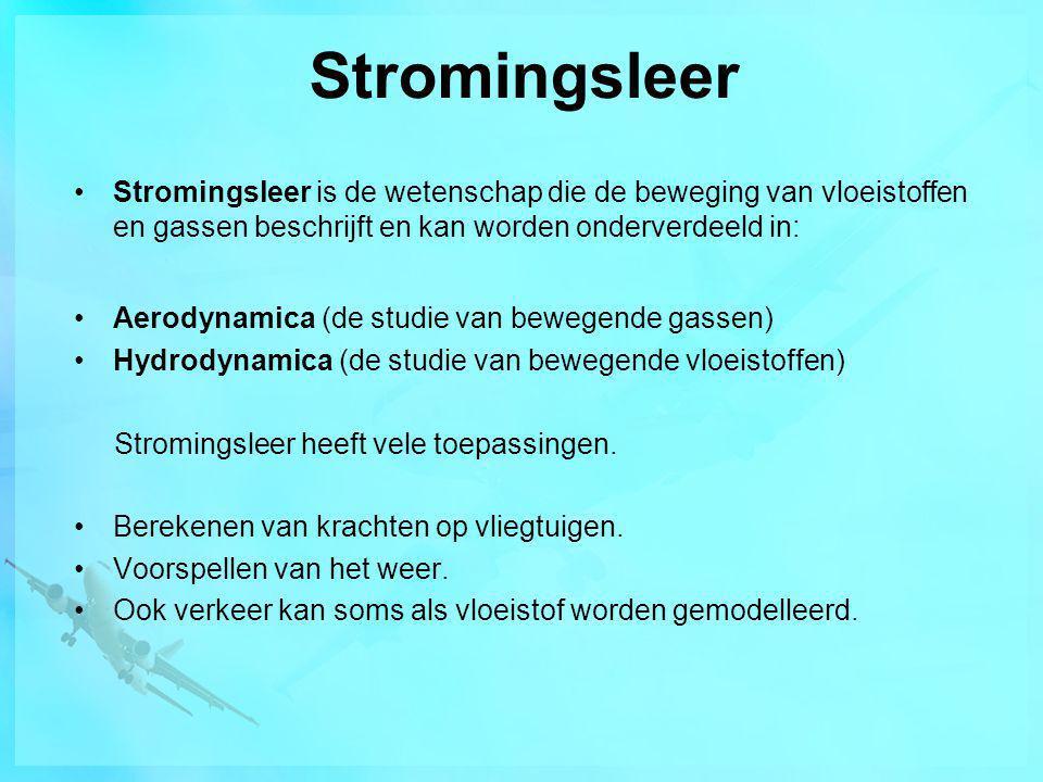 Stromingsleer Stromingsleer is de wetenschap die de beweging van vloeistoffen en gassen beschrijft en kan worden onderverdeeld in: