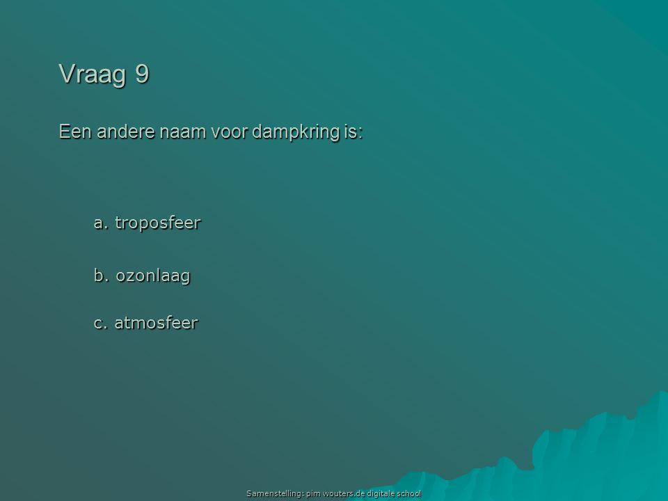 Vraag 9 Een andere naam voor dampkring is: