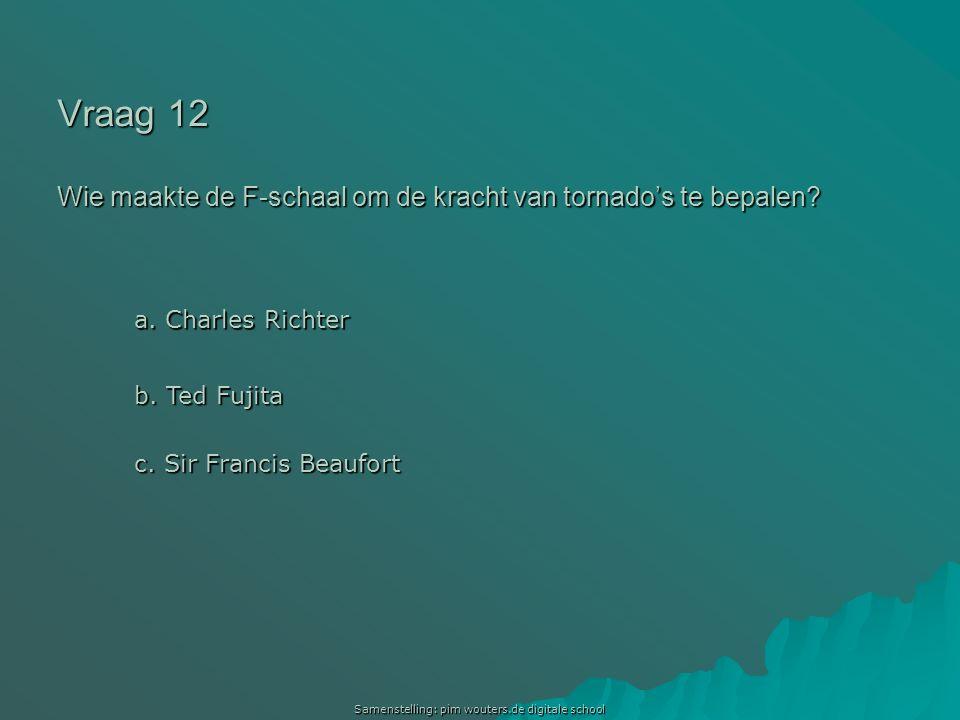 Vraag 12 Wie maakte de F-schaal om de kracht van tornado's te bepalen