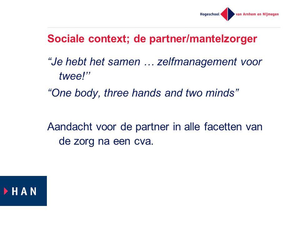 Sociale context; de partner/mantelzorger