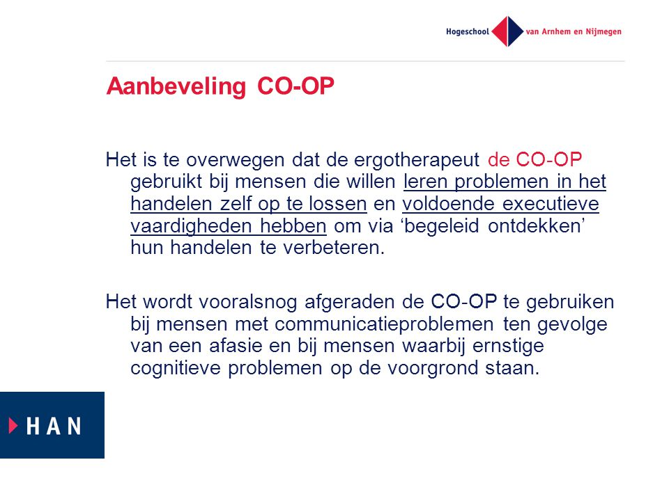 Aanbeveling CO-OP