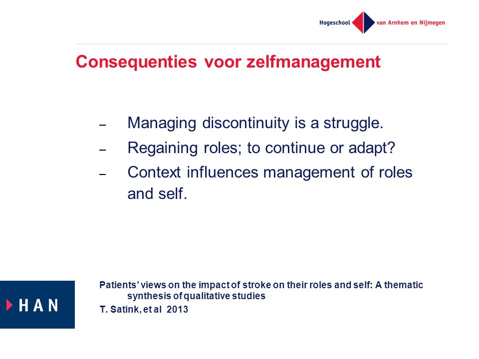 Consequenties voor zelfmanagement