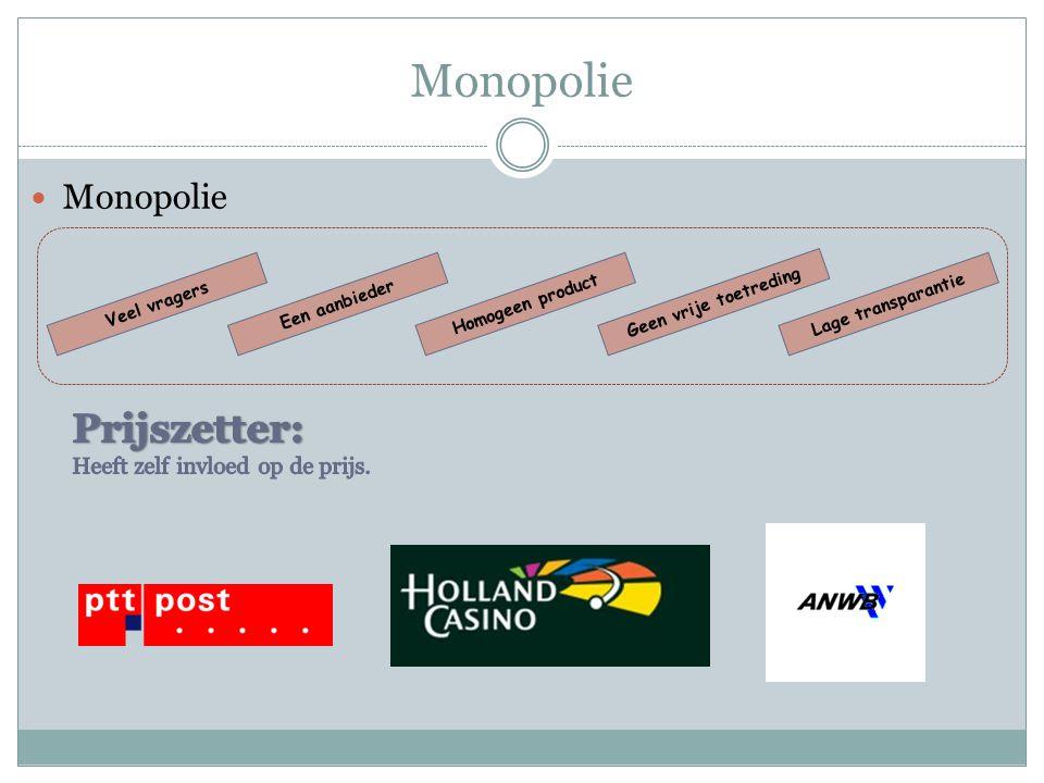 Monopolie Prijszetter: Monopolie Heeft zelf invloed op de prijs.