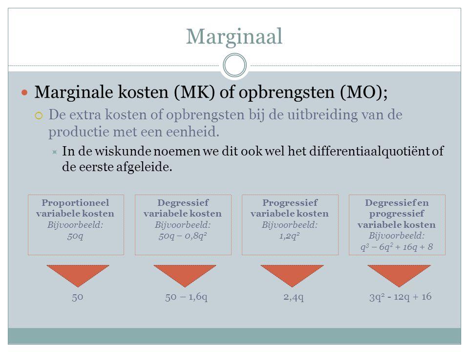 Marginaal Marginale kosten (MK) of opbrengsten (MO);