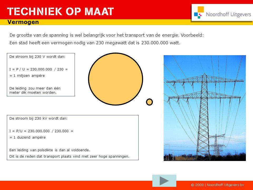 Vermogen De grootte van de spanning is wel belangrijk voor het transport van de energie. Voorbeeld: