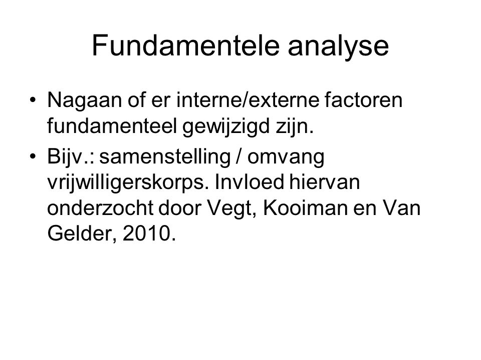 Fundamentele analyse Nagaan of er interne/externe factoren fundamenteel gewijzigd zijn.