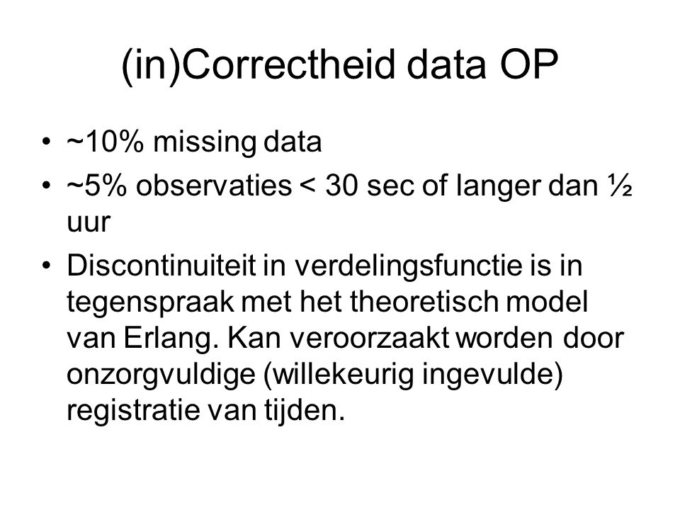 (in)Correctheid data OP