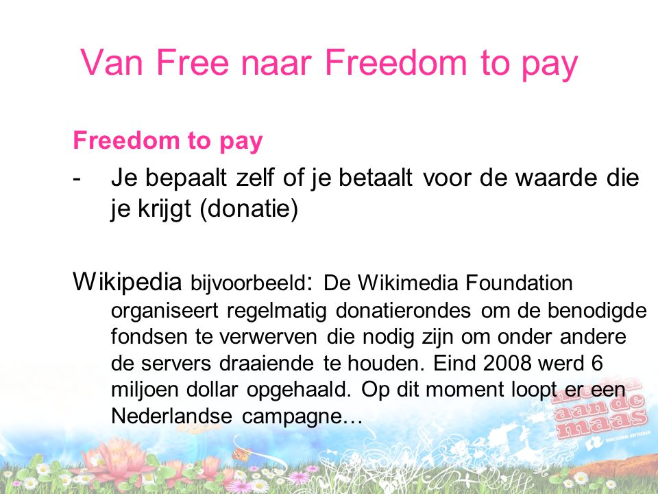 Van Free naar Freedom to pay