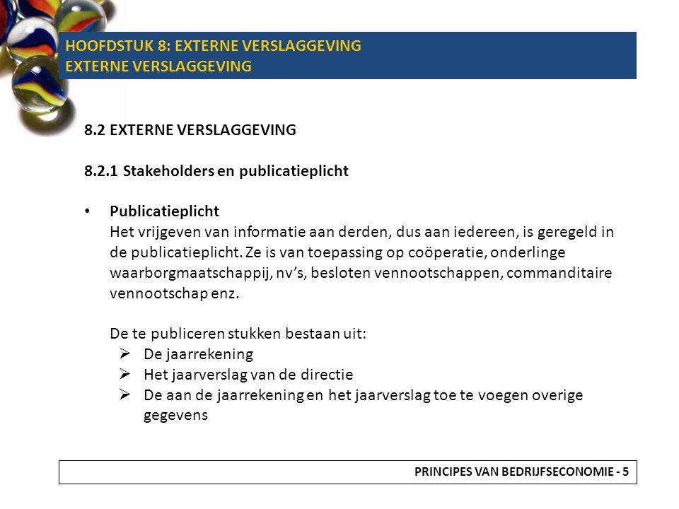 HOOFDSTUK 8: EXTERNE VERSLAGGEVING EXTERNE VERSLAGGEVING
