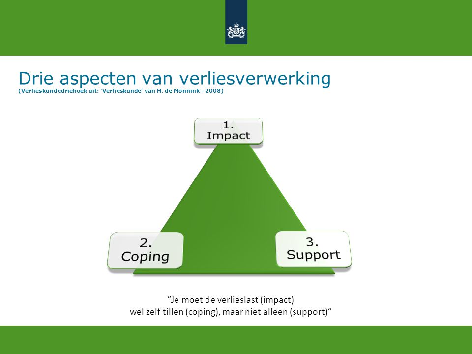 Drie aspecten van verliesverwerking (Verlieskundedriehoek uit: 'Verlieskunde' van H. de Mönnink - 2008)