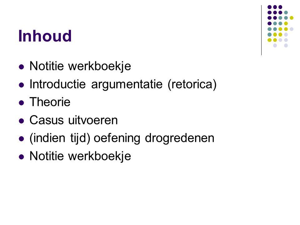 Inhoud Notitie werkboekje Introductie argumentatie (retorica) Theorie