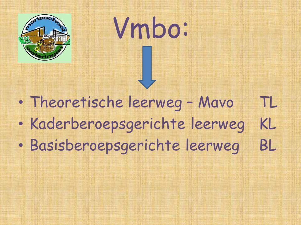 Vmbo: Theoretische leerweg – Mavo TL Kaderberoepsgerichte leerweg KL