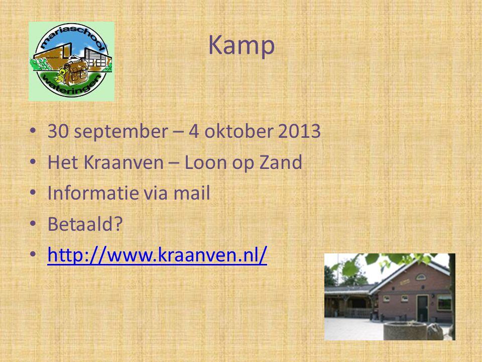 Kamp 30 september – 4 oktober 2013 Het Kraanven – Loon op Zand