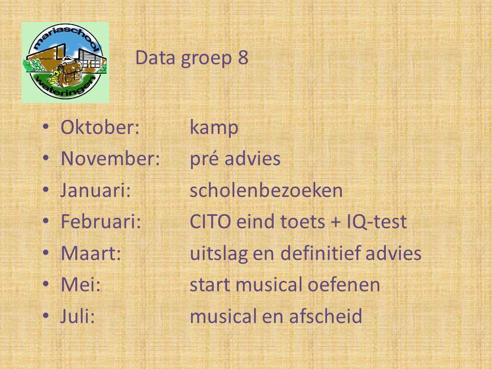 Data groep 8 Oktober: kamp. November: pré advies. Januari: scholenbezoeken. Februari: CITO eind toets + IQ-test.