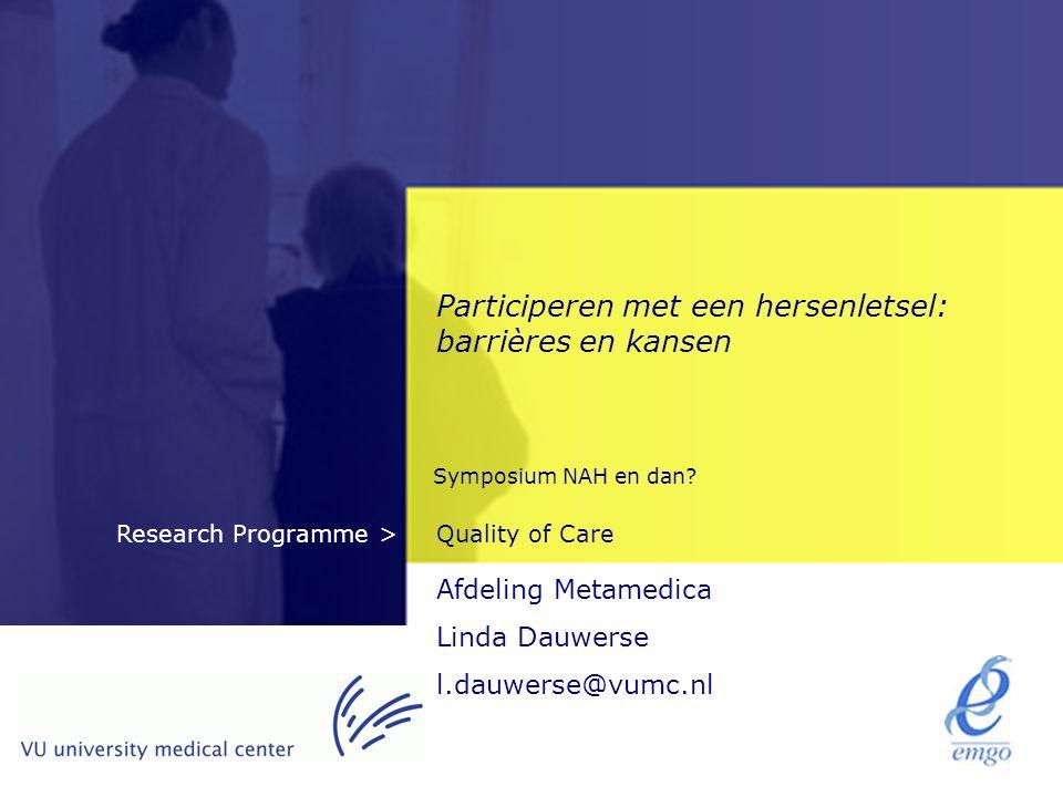 Participeren met een hersenletsel: barrières en kansen
