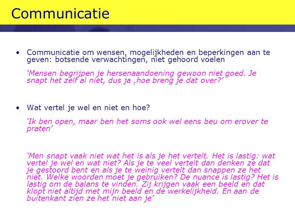 Communicatie Communicatie om wensen, mogelijkheden en beperkingen aan te geven: botsende verwachtingen, niet gehoord voelen.