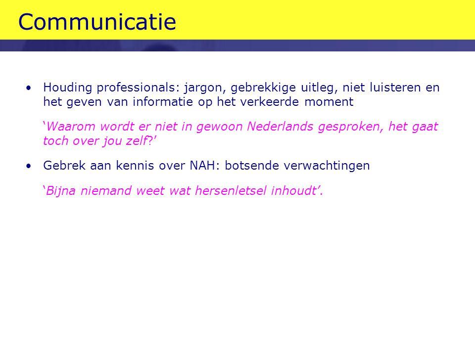 Communicatie Houding professionals: jargon, gebrekkige uitleg, niet luisteren en het geven van informatie op het verkeerde moment.