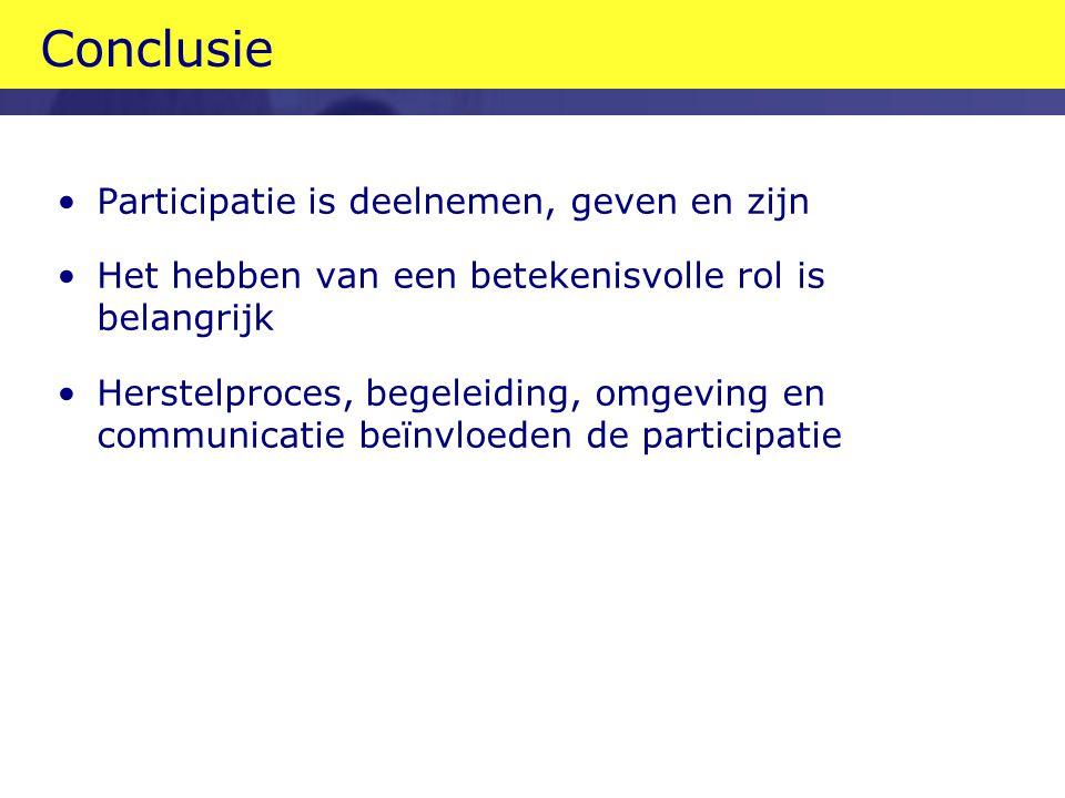 Conclusie Participatie is deelnemen, geven en zijn