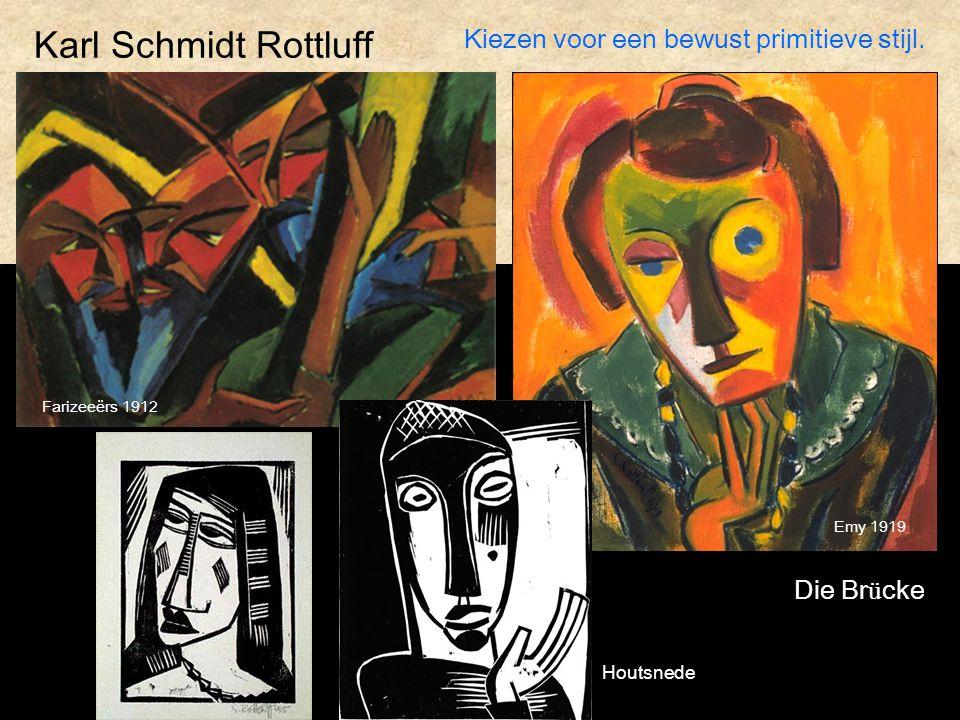 Karl Schmidt Rottluff Kiezen voor een bewust primitieve stijl.