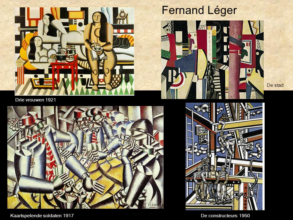 Fernand Léger De stad Drie vrouwen 1921 Kaartspelende soldaten 1917