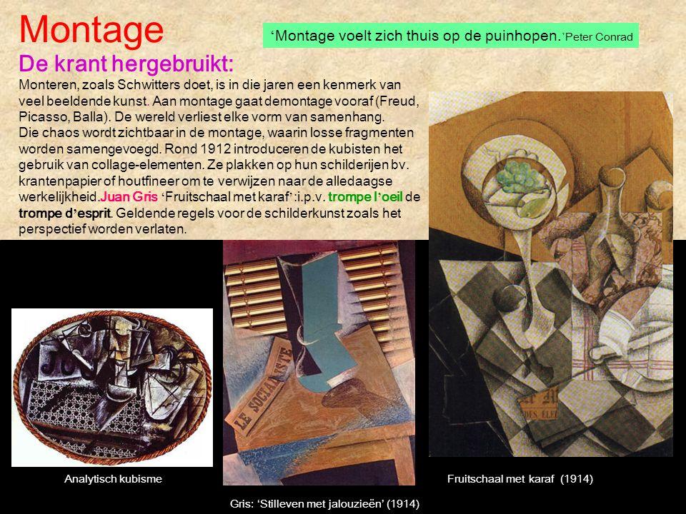 Montage 'Montage voelt zich thuis op de puinhopen.'Peter Conrad.