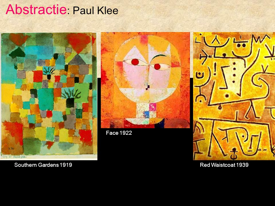 Abstractie: Paul Klee Face 1922 Southern Gardens 1919