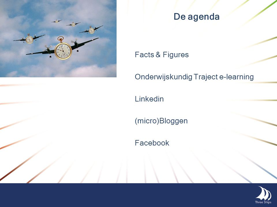 De agenda Facts & Figures Onderwijskundig Traject e-learning Linkedin (micro)Bloggen Facebook