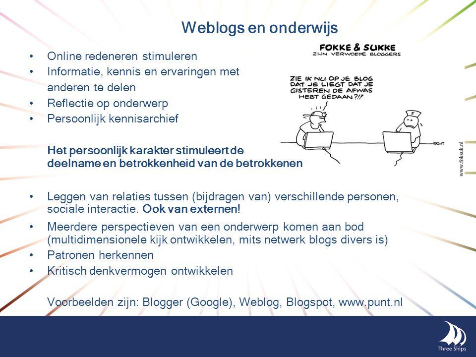 Weblogs en onderwijs Online redeneren stimuleren