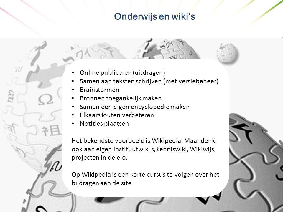 Onderwijs en wiki's Online publiceren (uitdragen)