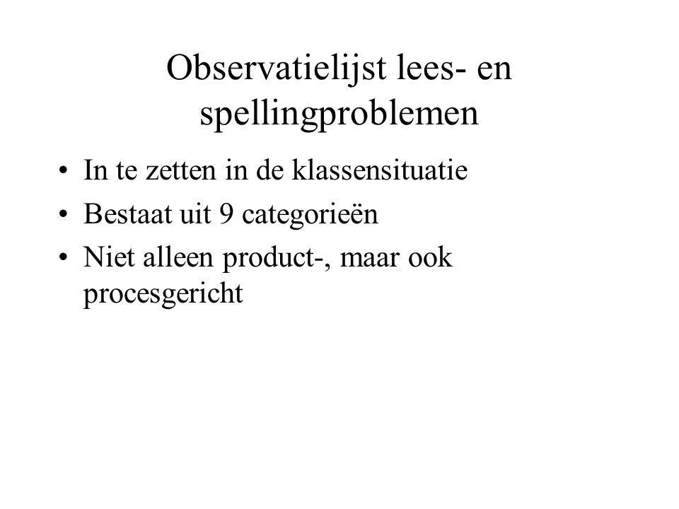 Observatielijst lees- en spellingproblemen