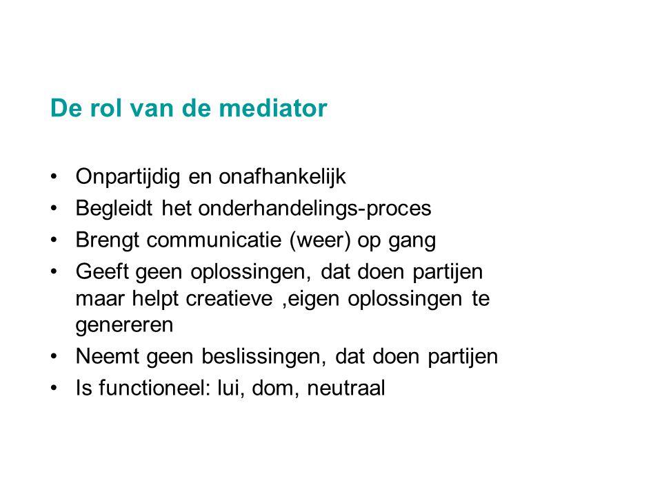 De rol van de mediator Onpartijdig en onafhankelijk
