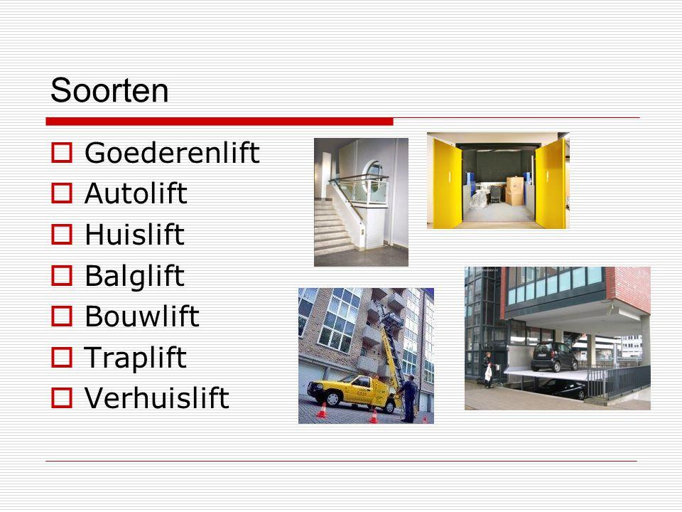 Soorten Goederenlift Autolift Huislift Balglift Bouwlift Traplift