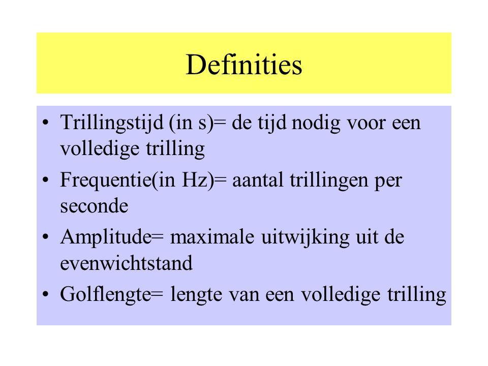 Definities Trillingstijd (in s)= de tijd nodig voor een volledige trilling. Frequentie(in Hz)= aantal trillingen per seconde.