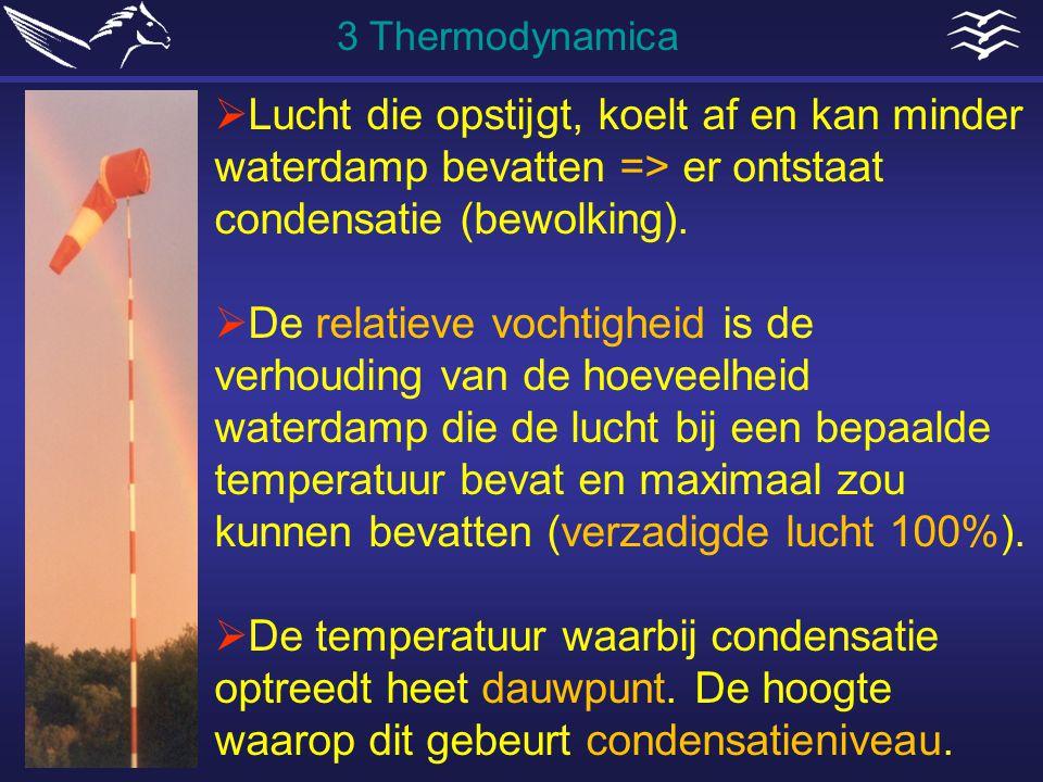 3 Thermodynamica Lucht die opstijgt, koelt af en kan minder waterdamp bevatten => er ontstaat condensatie (bewolking).